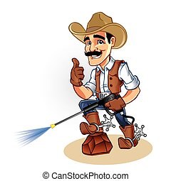 Illustration of a cowboy with water blaster pressure power...