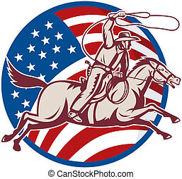 illustration of a cowboy riding horse with lasso and american flag