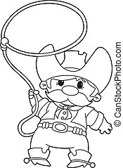 cowboy with lasso outlined