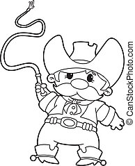 cowboy with whip outlined