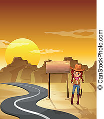 Illustration of a cowgirl standing beside an empty wooden signboard along the road