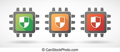 CPU icon set with shields