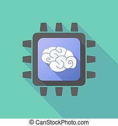 CPU icon with a brain - Illustration of a CPU icon with a...