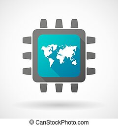 CPU icon with a world map
