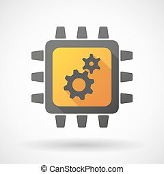 CPU icon with gears