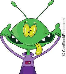 crazy alien - illustration of a crazy alien