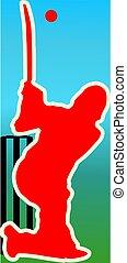 cricket batsman - Illustration of a cricket batsman