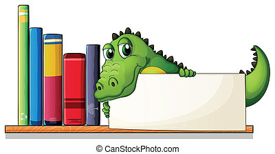 Illustration of a crocodile holding an empty board above the...