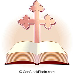 cross - Illustration of a cross and religious book in colour