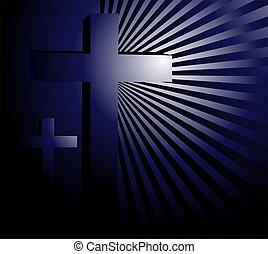 Illustration of a cross in blue beam light