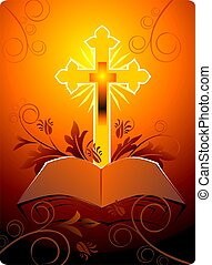 cross in floral background with bible - Illustration of a...