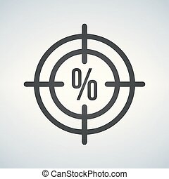 Illustration of a crosshair icon with a discount precentage sign