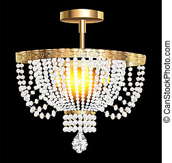 crystal chandelier with modern pendants - illustration of a ...