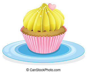 a cupcake - illustration of a cupcake on a white background