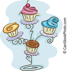 Cupcake Stand - Illustration of a Cupcake Stand Filled with...