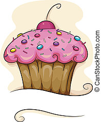 Cupcake - Illustration of a Cupcake with a Cherry on Top