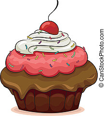 Illustration of a Cupcake with a Cherry on Top