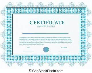 Illustration of a custom certificate template with guilloche .