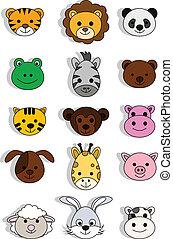 illustration of a cute animal head - vector illustration of...