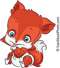 Cute Baby Fox - Illustration of a Cute Baby Fox Licking its ...