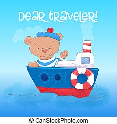 Illustration of a cute bear sailor youngs on a steamship. Hand draw
