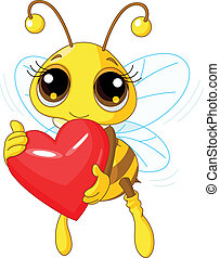 Illustration of a Cute Bee holding Love heart