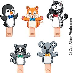 a cute collections of puppets wild animal