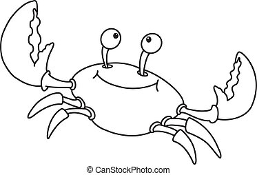 cute crab outlined