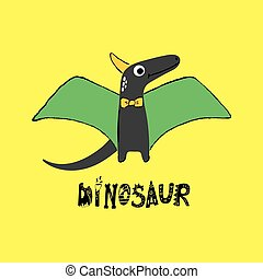 Illustration of a cute dinosaur with horn and wings on yellow background