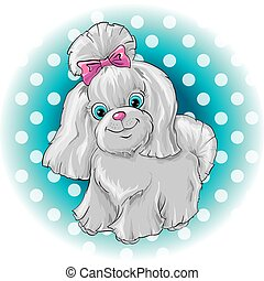 Illustration of a cute dog yorkshire terrier