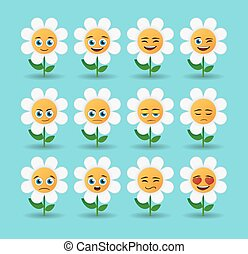 cute flower avatar expression set