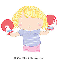 illustration of a cute girl with red boxing gloves