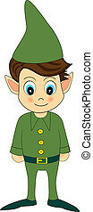 illustration of a cute green christmas elf