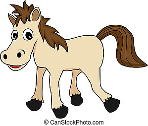 illustration of a cute happy looking cartoon brown horse -...