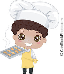 Little Boy Baking Bread - Illustration of a Cute Little Boy...