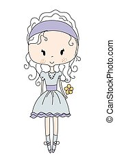 Illustration of a Cute Little Doll Girl with Flower. Design Dress