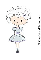 Illustration of a Cute Little Doll Girl with Flower. Design Dress. Comic book