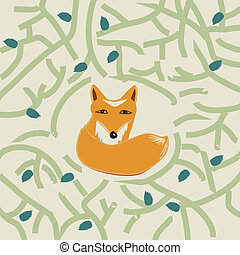 Illustration of a cute little fox in a forest - Illustration...