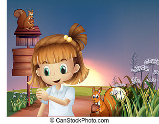Illustration of a cute little girl at the hilltop with squirrels and empty signboards