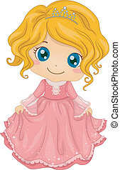 Princess Costume - Illustration of a Cute Little Girl...