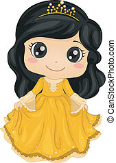 Princess Costume - Illustration of a Cute Little Girl...