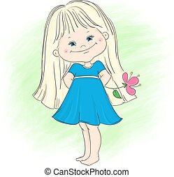 Illustration of a cute little girl with flower