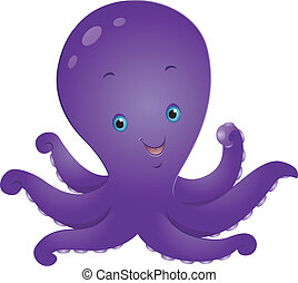 Octopus - Illustration of a Cute Octopus Smiling Happily