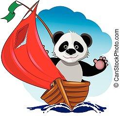 Panda in the boat