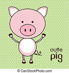 Illustration of a cute pig background, vector illustration