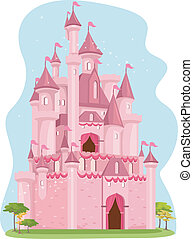 Pink Castle - Illustration of a Cute Pink Castle