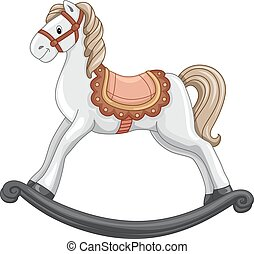 Illustration of a Cute Rocking Horse in Mid-Swing