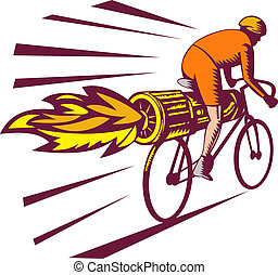 illustration of a Cyclist racing with jet engine on bicycle isolated on white woodcut style