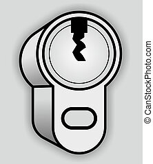 cylinder lock - illustration of a cylinder lock to lock a...