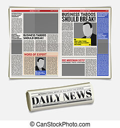 daily newspaper template, tabloid, layout posting reportage